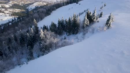 carpathian : Flight over Carpathian mountains covered with snow. Clear frosty weather Stock Footage