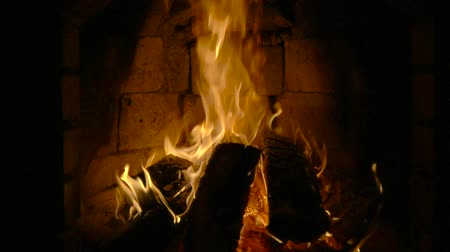 aglow : Fire in a fireplace. Slow motion Stock Footage