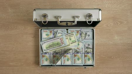 capitalism : Money falls in a suitcase and it closes