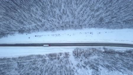 országúti : Aerial view on car driving through winter forest road. Scenic winter landscape Stock mozgókép