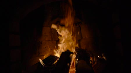 aglow : Fire in a fireplace Stock Footage