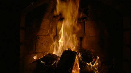 arranging : Fire in a fireplace Stock Footage