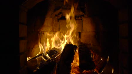 fireplace : Fire in a fireplace Stock Footage
