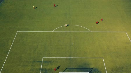 детская площадка : Aerial view of football team practicing at day on soccer field in top view Стоковые видеозаписи