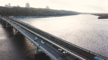 metro : Aerial view of the metro bridge in Kiev, Ukraine. Lively traffic Stock Footage