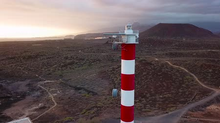 vízpart : View from the height of the lighthouse Faro de Rasca on The Tenerife, Canary Islands, Spain. Wild Coast of the Atlantic Ocean. Shooted at different speeds: normal and fast