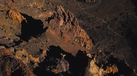 kanarya : Aerial view of the Teide National Park, flight over the mountains and hardened lava. Tenerife, Canary Islands Stok Video
