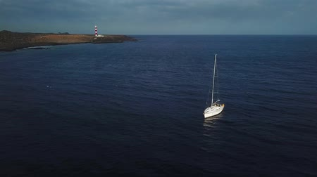 hajózik : View from the height of the yacht near the lighthouse off the coast of Tenerife, Canary Islands, Spain
