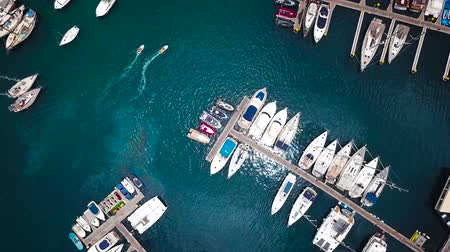 fly fishing : Flight over a dock with a lot of yachts and boats - shooting from a drone