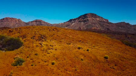 volkanik : Aerial view of the Teide National Park, flight over the mountains and hardened lava. Tenerife, Canary Islands Stok Video