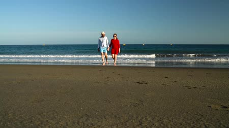 блаженство : Couple in love carefree walking from the water on the beach. Picturesque ocean coast of Tenerife, Canarian Islands, Spain