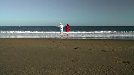 něha : Couple in love carefree running to the water on the beach. Picturesque ocean coast of Tenerife, Canarian Islands, Spain. Slow motion