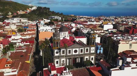 steeples : View from the height on Cathedral and townscape San Cristobal De La Laguna, Tenerife, Canary Islands, Spain