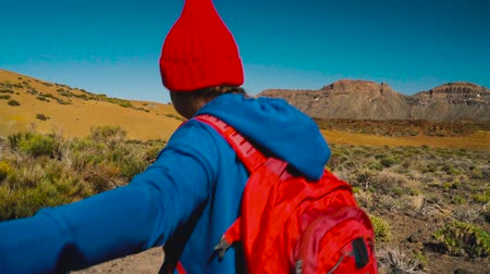 takip etmek : Follow me - happy young woman in red hat with backpack pulling guys hand. Hand in hand walking throw the Teide National Park, Tenerife, Canary Islands, Spain. Slow motion Stok Video
