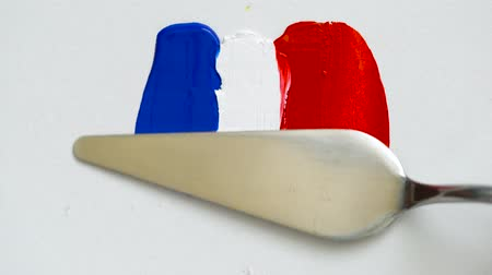palette knife : Creating a flag of France with acrylic paints and palette knife