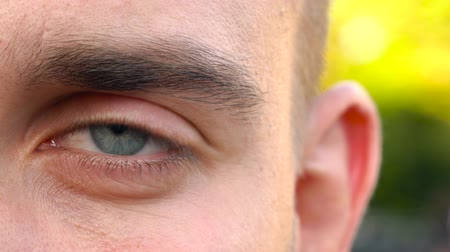 Beautiful blinking male eye close-up Stock Footage