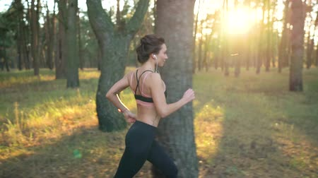 energia : Close up of woman with headphones running through an autumn forest at sunset. Slow motion