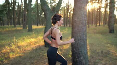 cipő : Close up of woman with headphones running through an autumn forest at sunset Stock mozgókép