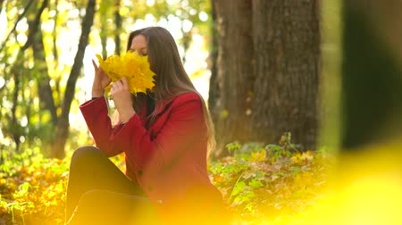 ruhák : Beautiful girl sits in the autumn forest and collects a bouquet of yellow maple leaves