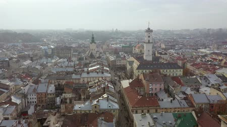 turisták : Aerial view of the historical center of Lviv. Shooting with drone Stock mozgókép