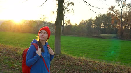 relaks : Woman traveler with a backpack walks on the road in the countryside and admires the surrounding scenery Wideo