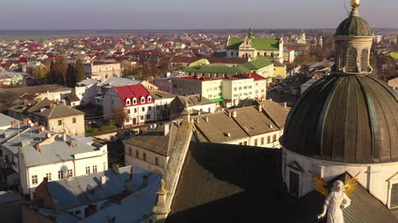 turisták : Aerial view of the historical center of Zhovkva, Lviv region, Ukraine. Shooting with drone