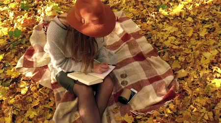 empresária : Beautiful woman sits on a plaid in the autumn forest, makes notes in a notebook and enjoys good weather. Slow motion
