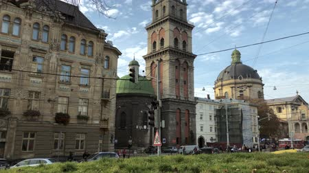 kostel : View of the historical center of Lviv. Hyperlapse