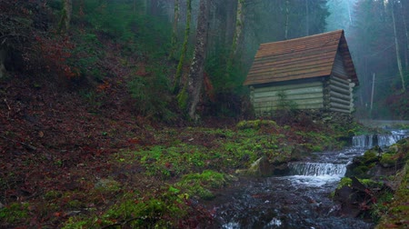 cours d eau : Small house stands on the banks of a mountain river