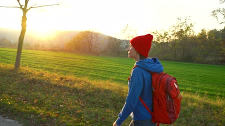 backpacken : Woman traveler with a backpack walks on the road in the countryside and admires the surrounding scenery Stockvideo