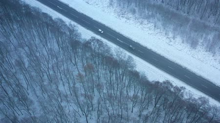 air vehicle : Aerial view of traffic on the road passing through the winter forest in winter Stock Footage