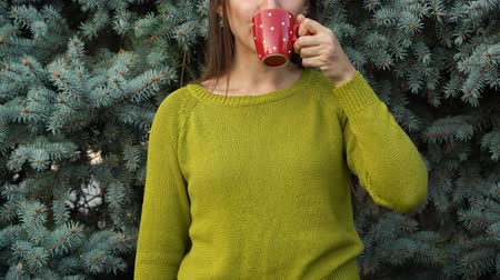 noël : Femme, tenue, confortable, rouge, tasse, contre, fond, pin, branches