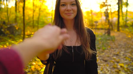 takip etmek : Beautiful girl holds the hand of her boyfriend and follows him through the yellow autumn forest. Stok Video