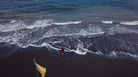 czerwone tło : Aerial view of a girl in a red dress walking on the beach with black sand. Tenerife, Canary Islands, Spain Wideo