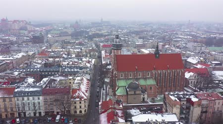 wawel : Aerial view of the historical center of Krakow, church, Wawel Royal Castle in winter