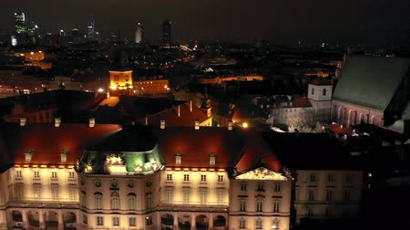 historical : View from the height of the royal castle in the old town at night, Warsaw, Poland