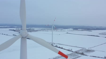 torre : View from the height of energy producing wind turbines in winter, Poland