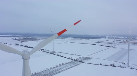 air vehicle : View from the height of energy producing wind turbines in winter, Poland