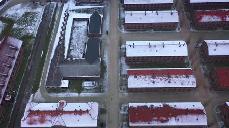 cold war : Aerial view of Auschwitz Birkenau, a concentration camp in Poland Stock Footage