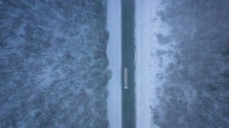 air vehicle : Aerial view of trucks on the road passing through the winter forest in blizzard