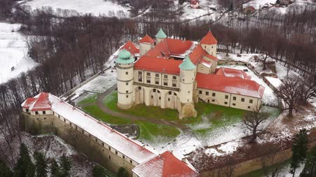 sníh : View from the height of the castle in Nowy Wisnicz in winter, Poland