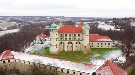 View from the height of the castle in Nowy Wisnicz in winter, Poland