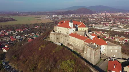architectural heritage : Aerial view of the medieval castle Palanok, Mukachevo, Transcarpathia, Ukraine Stock Footage