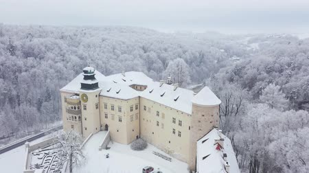 winter palace : Aerial view oh historic renaissance castle Pieskowa Skala near Krakow in Poland in winter Stock Footage