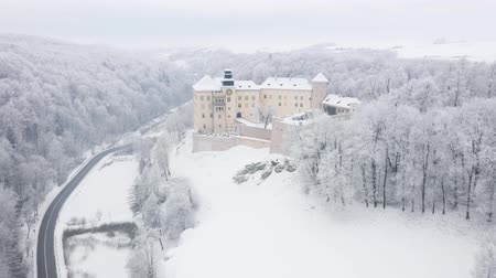 historical : Aerial view oh historic renaissance castle Pieskowa Skala near Krakow in Poland in winter Stock Footage