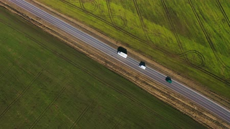 natura : Top view of a cars driving along a rural road between two fields