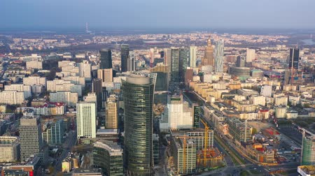 semt : View from the height on Warsaw business center: skyscrapers and Palace of Science and Culture on the background