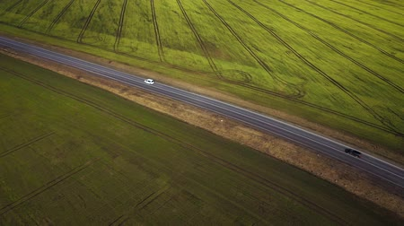 vibráló : Top view of a cars driving along a rural road between two fields