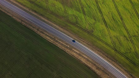 vibráló : Top view of a car driving along a rural road between two fields