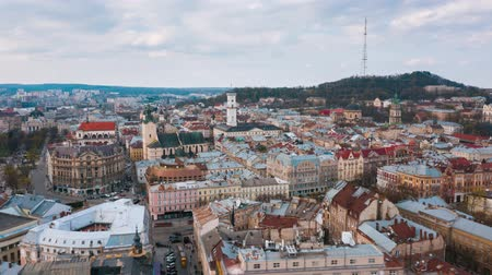 trilhas : Hyperlapse of the historical center of Lviv, Aerial view.